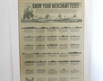 "Rare Know Your Merchant Fleet Original 1944 Poster WWII Maritime 19"" x 26.5"" Elmo White Marine Military US Government Ships for Victory"