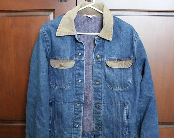 Key Imperial Denim Jean Trucker Jacket 1970s Vintage | Corduroy Collar, Blanket Lined
