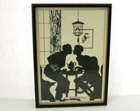 Art Deco Silhouette First Breakfast Print, Vintage Buckbee Brehm 1930s Honeymoon Lovers Couple