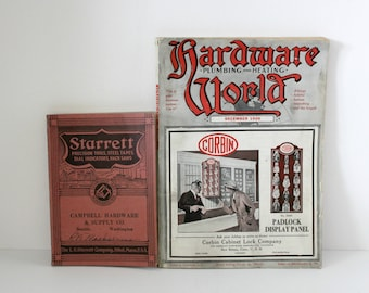 2 Vintage Starrett Hardware World Catalogs, 1920s 1930s Plumbing, Heating, Tools
