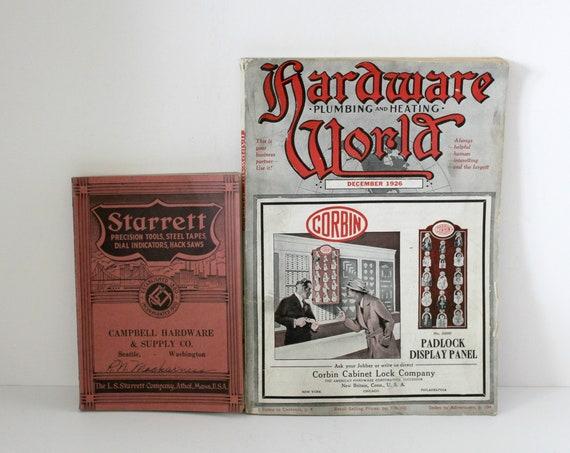 2 Vintage Starrett Hardware World Catalogs, 1920s 1930s Plumbing, Heating, Tools