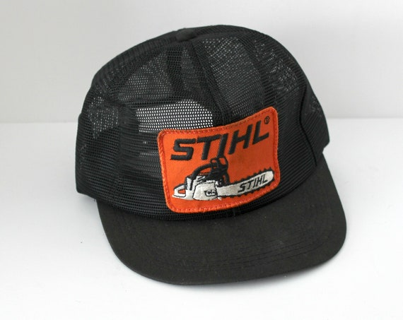 Vintage Stihl Hat Cap, Mesh Snap Back with Chainsaw Front Patch, Vintage Trucker Cap Hat