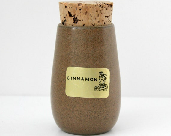 Vintage Heath Sandalwood Cinnamon Spice Jar w/ Original Cork and Label, Brown Taupe Beige