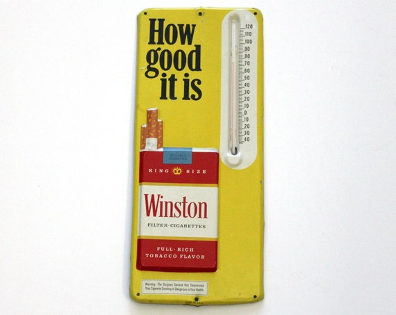 Vintage Winston Cigarettes Embossed Tin Thermometer | 1970s Advertising Tin Sign | Tobacciana Advertising