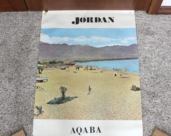 Vintage Jordan Aqaba Poster, Travel Tourist, Beach 1960s
