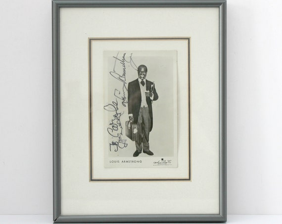 Vintage Louis Armstrong Signed RPPC Postcard Framed 1960s