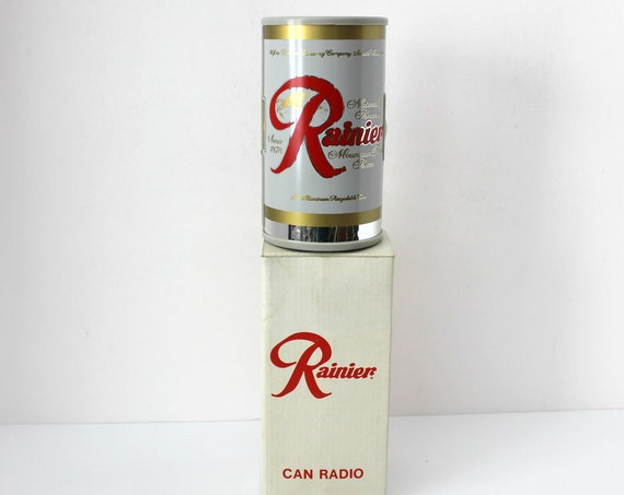 Vintage Rainier Beer Can Novelty Radio in Box, 1970s AM Radio, Works