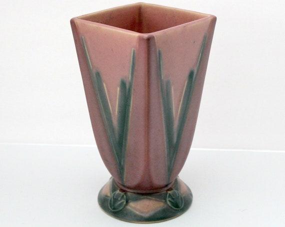 Vintage Roseville Futura Vase 399-7 ca. 1928 Rose Pink Pottery Vase