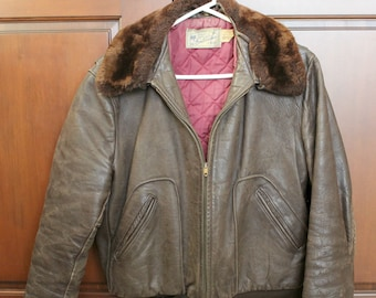 Vintage Hercules Leather Bomber Jacket | 1940s w/ Detachable Faux Fur Collar | 40s Mens Jacket Quilted Lining