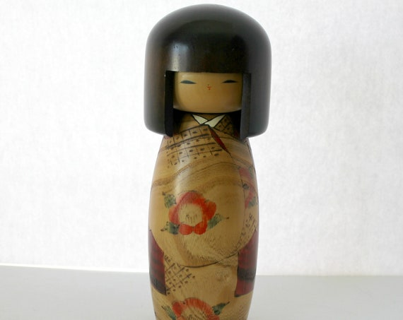 "Vintage Japanese Kokeshi Doll, Large 10.25"" Wooden Hand Painted Doll Figure"