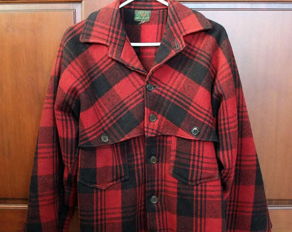 Vintage Black Bear Wool Jacket Coat, Red Black Plaid Mens 1950s Coat