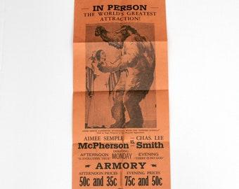 Rare 1930s Aimee Semple McPherson vs Charles Lee Smith, Evangelist Atheist Debate Gorilla Poster