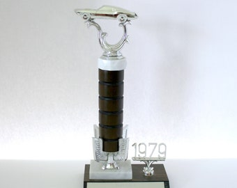 Vintage 1979 Mustang Road Rally Race Trophy, Car Racing 2nd Place