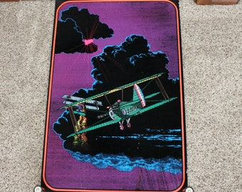 Vintage Original Blacklight Poster, Velvet Fuzzy Black Light, Dogfight, Vintage Airplanes, Biplane Dog Fight