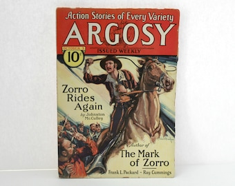 Vintage Argosy 1931 Pulp Fiction Magazine Zorro Rides Again, Action Stories