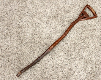 Vintage Irish Walking Stick Cane, Shillelagh, 4 Leaf Clover, Folk Art