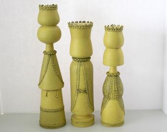 Vintage Set Three Kings, Wise Men, Carolers, Wood Candle Holders, Folk Art Statues