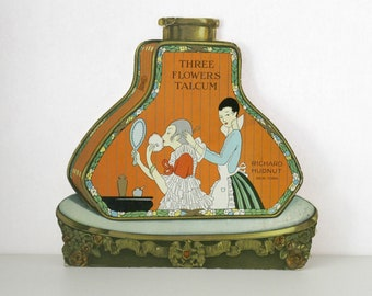 Vintage Three Flowers Talcum Easel Back Counter Store Display, Richard Hudnut, 1920s Bottle Shape