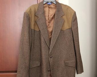 Vintage Pendleton Men's Wool Western Sport Coat Jacket, Brown, Suede Elbow Patches, Size 48 Long