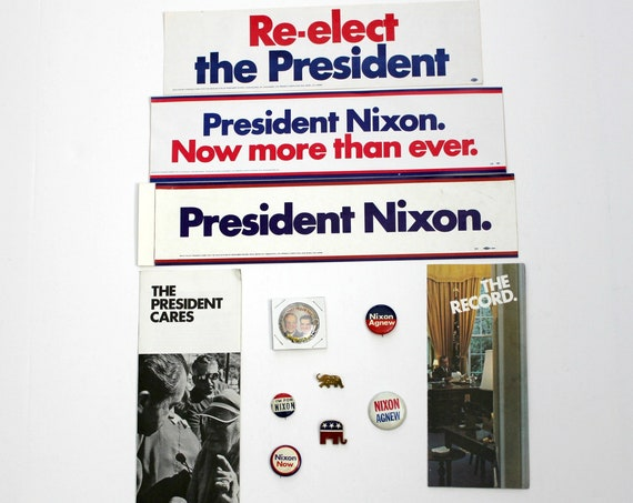 Vintage Richard Nixon Political Lot, Republican Stickers Buttons Brochures