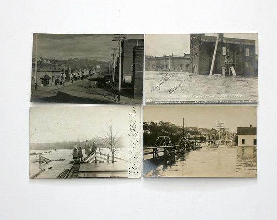 Antique Lot 4 Pullman WA Postcards, 1910 Flood, Street Scene, City Hall, Vintage History