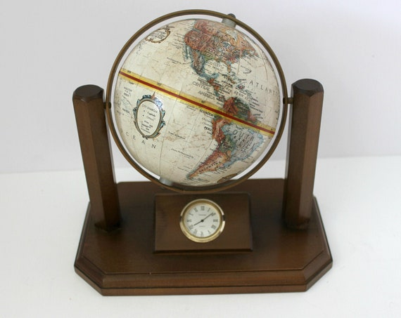Vintage Replogle Desk Globe with Quartz Clock, 1970s Executive Wood Pillar Column Base
