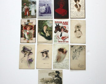Lot Antique Postcards, Victorian Women Ladies, Gibson Girls, Advertisement, Early 1900s, One Cent Ben Franklin Left Facing