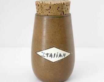 Vintage Heath Sandalwood Spice Jar Vintage w/ Original Cork, Brown Taupe Beige