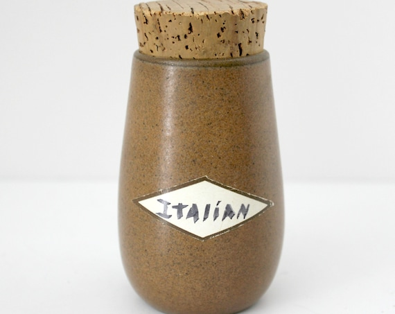 Vintage Heath Sandalwood Spice Jar Vintage w/ Original Cork, Brown Taupe Beige