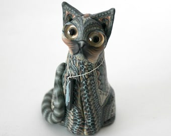 Jon Anderson Fimo Cat Sitting, Polymer Clay Art Figurine