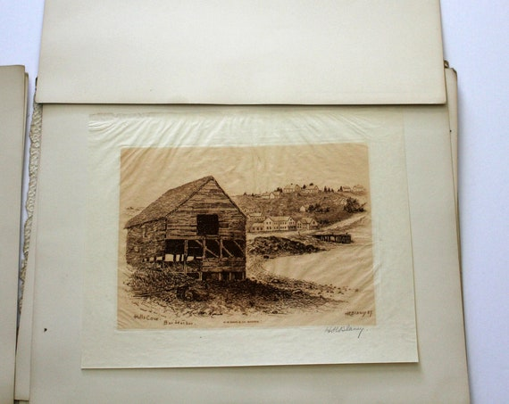 Etchings of Bar Harbor Maine H R Blaney Antique 1880s Signed Portfolio Set of 4 Art Sketches