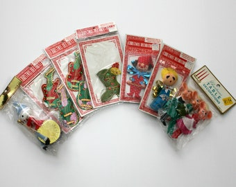 Vintage Christmas Ornaments Lot of 7, Felt, Glitter, Rubber Face Mice, Stockings, Drummer, Boot, 1960s in Package, Most Sealed NOS