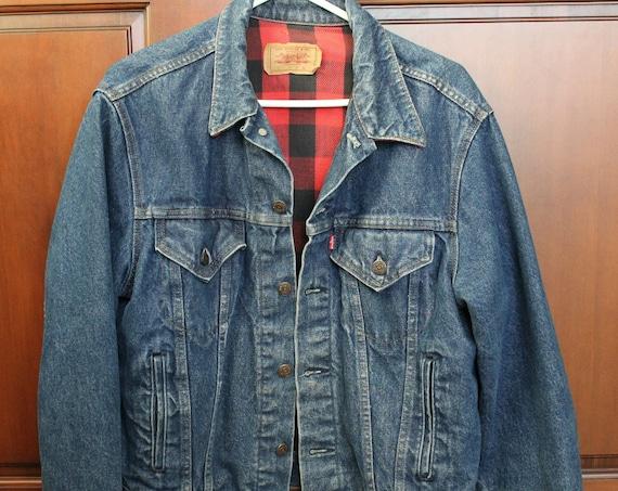Vintage Levi Trucker Jacket Plaid Flannel Lined Denim Jean Jacket Sz 44