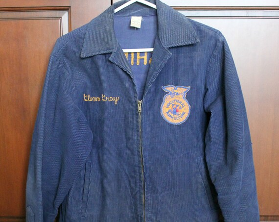 Vintage 1960s FFA Wa Blue Corduroy Jacket Highland Cowiche Washington