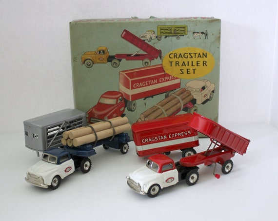 Vintage Cragstan Trailer Set in Box, Semi Truck Tin Friction, Logging, Livestock, Dumping,