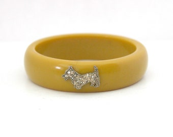 Bakelite Butterscotch Bangle Bracelet with Rhinestone Scottie Dog, Vintage Philippe