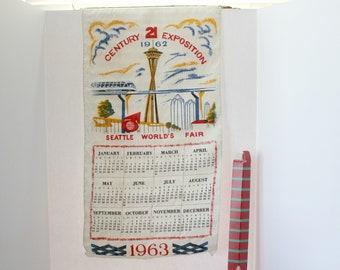 1963 Wall Calendar 1962 Seattle World's Fair Cloth Souvenir in Box, Century 21 Exposition