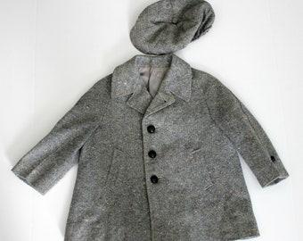 Little Boy's Pea Coat and Newsboy Hat, Vintage Fieldston Gray Tweed Wool