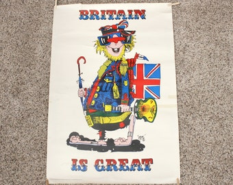 Vintage Hans Britain is Great Lord Kitchener's Poster, 1960s Military London Travel Badge Novelty Co