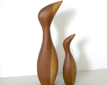 Vintage Pair Denmark Wood Mid Century Modern Bird Puffin Penguin Sculptures, Stylized, Wooden Danish