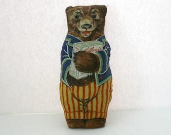 1930s Vintage Kellog's Advertising Premium Daddy Teddy Bear Stuffed Doll