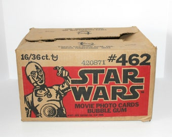 Star Wars 1977 Original Vintage Shipping Cardboard Box Container Topps Movie Bubble Gum Photo Cards