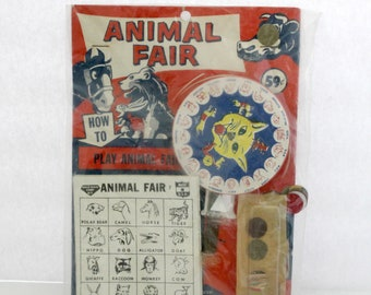 Vintage Dime Store Hale-Nass Animal Fair Game Bag Toy Sealed, 1950s Push Plunger