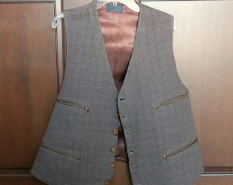 Vintage 1940s Pendleton Wool Vest, Brown Gray 4 Pocket Plaid 6 Button, Men's Clothing