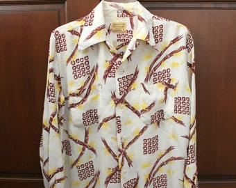 Rare 1950s Miamian Aetna Mens Shirt, Size Medium, Bamboo, Tropical, Vintage Hawaiian Button Down