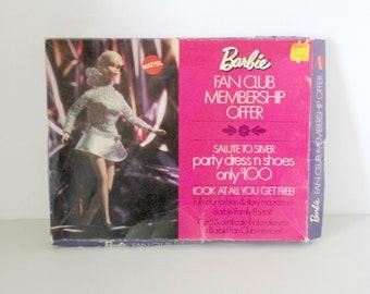 Barbie Fan Club Membership Offer Salute To Silver Complete in Box, Mattel 1970