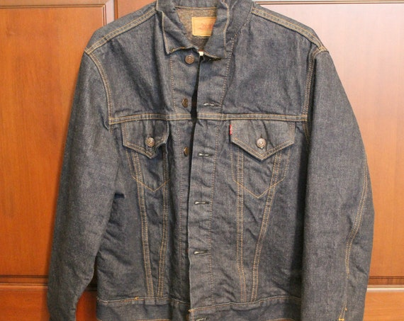 Vintage Levi Big E Jean Jacket | Blanket Lined Indigo Blue Denim Mens Jacket