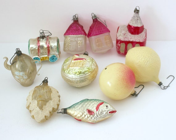 Vintage Christmas Ornament Lot of 10, Glass Ornaments. Fish, Church, Tea Pot, Houses, Fruit, Wagon