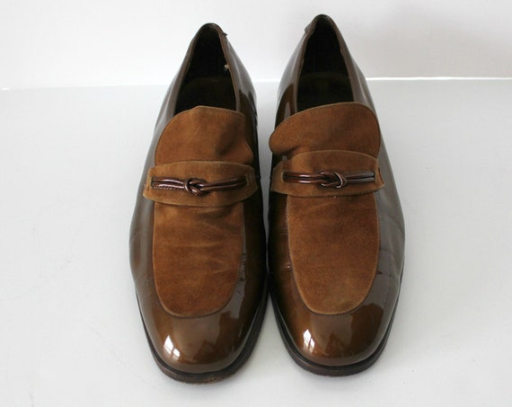 Vintage Florsheim Loafers Patent Suede Two Tone Mens Shoes, Size 8.5 Brown Model 34039