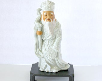 Vintage Japanese Porcelain Enamel Old Man with Staff and Fan Figure | 50s 60s Japan Figurine with Sticker and Stand